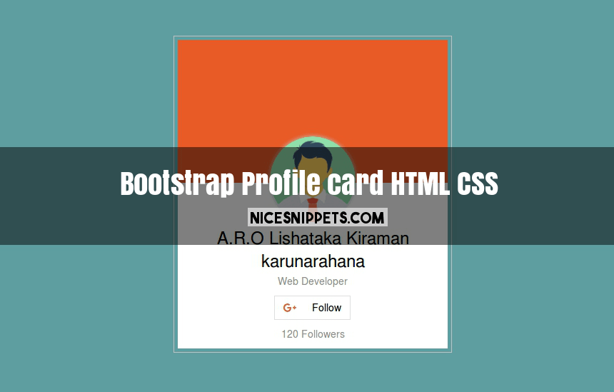 Profile card design using html,css and bootstrap