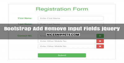 Add remove input fields dynamically using jQuery and bootstrap
