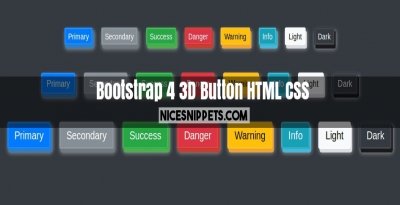 3D button example using html,css and bootstrap 4