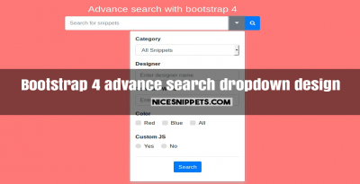 Bootstrap 4 advance search dropdown design demo