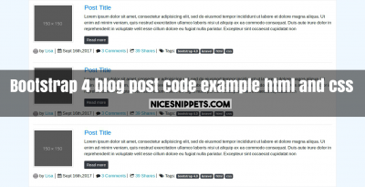 Bootstrap 4 blog post code example usign html and css
