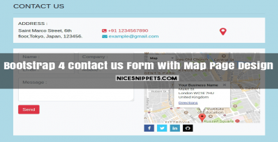 Bootstrap 4 Contact us Form With Map Page Design