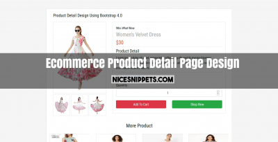 Bootstrap 4 Ecommerce Product Detail Page Design
