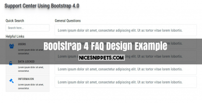 Bootstrap 4 FAQ Design Example With Collapse and Sidebar