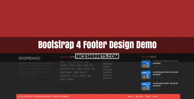 Bootstrap 4 Footer Design Demo