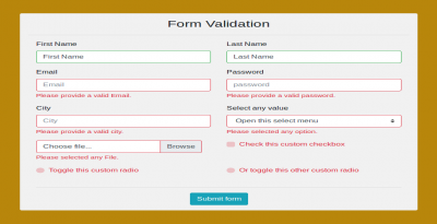 Bootstrap 4 form validation with form all input example