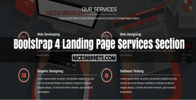 Bootstrap 4 Landing Page Services Section Design