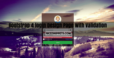 Bootstrap 4 Login Page Design With Jquery Validation