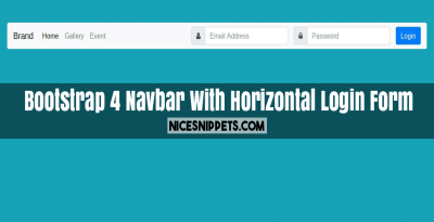 Bootstrap 4 Navbar With Horizontal Login Form Design