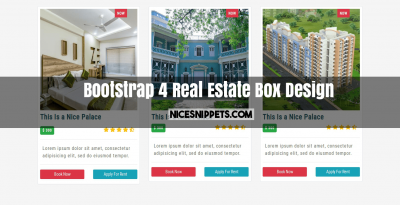 Bootstrap 4 Real Estate Box Design