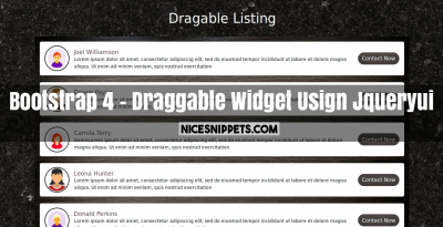 Bootstrap 4 With Draggable Widget Usign Jqueryui