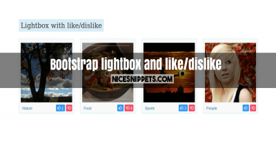 Bootstrap lightbox with category and like/dislike