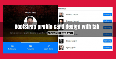 Bootstrap profile card design with tab