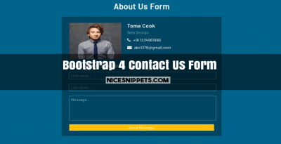 About Us Form Design Usign HTML,CSS and Bootstrap 4