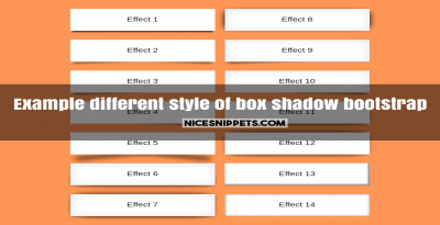 Example of different style of box shadow usign bootstrap