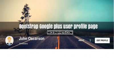 Google plus user profile page design using bootstrap
