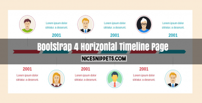 Horizontal Timeline page design using bootstrap 4
