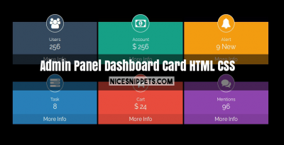 Admin panel dashboard card design usign html and css