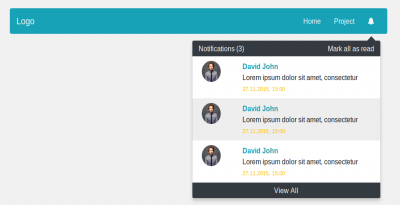 Navbar with notification dropdown modal usign bootstrap