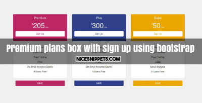 Premium plans box with sign up using bootstrap