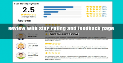 Review with star rating and feedback page design usign pure css