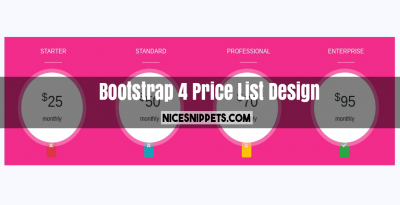 Price List Design Using HTML, CSS and Bootstrap 4