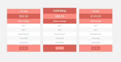 Pricing table with hover effect using bootstrap example