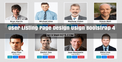 User Listing Page Design Usign Bootstrap 4