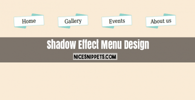 Shadow Effect Menu Design Using html,css