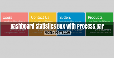Dashboard Statistics Box With Process Bar
