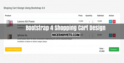Responsive Shopping Cart using Bootstrap 4