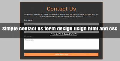 Simple contact us form design usign html and css