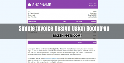 Simple Invoice Design Usign Bootstrap