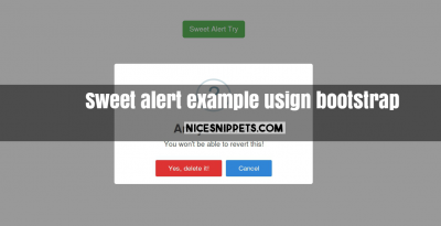 Sweet alert example usign bootstrap
