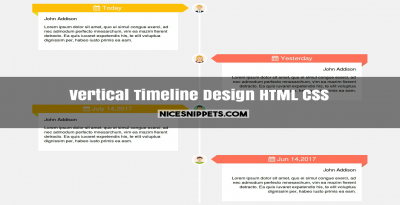 Vertical timeline design using html and css